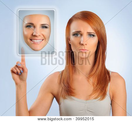sad woman choosing happy face