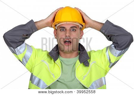 Worker gasping.