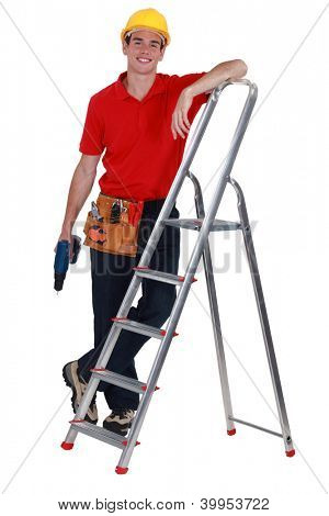 Man with ladder stood by step-ladder