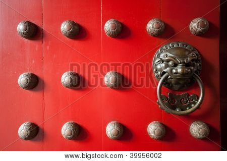 Red Temple Door In Chinatown, Singapore