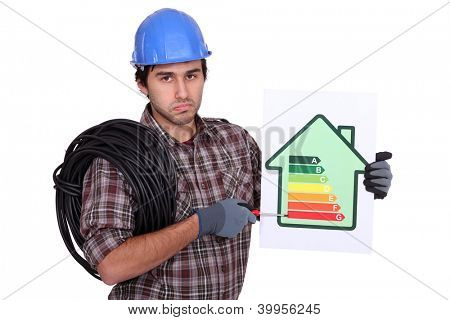 Electrician holding energy-rating information