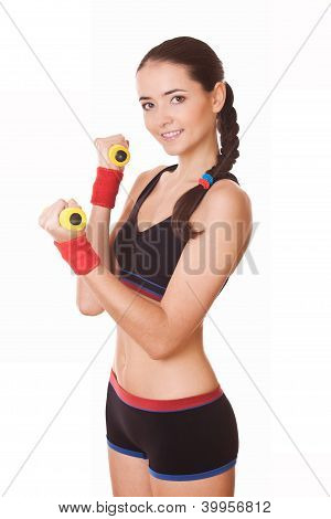 Woman Holding Weights