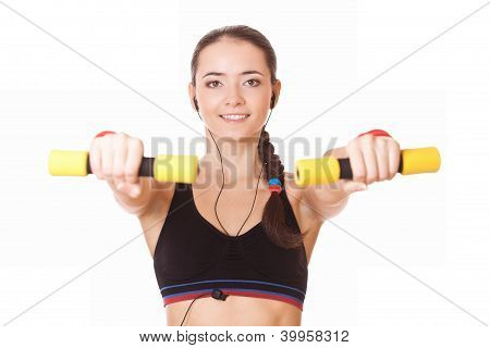 Sporty Caucasian Woman Lifting Dumbbells
