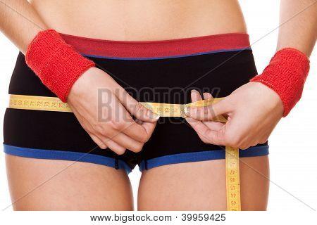 Closeup Woman Measuring Hips 90 Centimeters