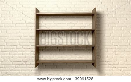 Shelving Unit On A Wall Front
