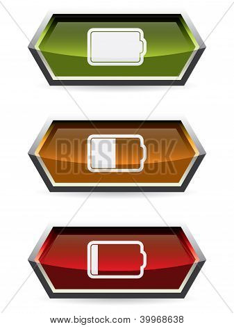 Web Buttons With Battery Symbol
