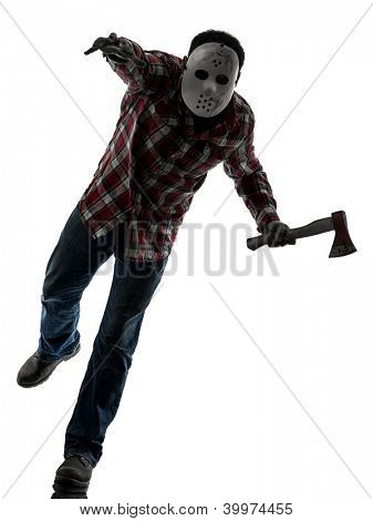 one causasian man serial killer with mask full length in silhouette studio isolated on white background