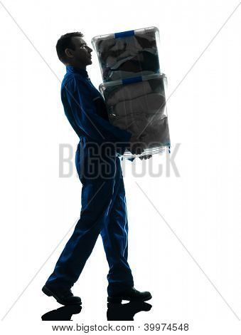 mover with boxes silhouette  worker silhouette in studio on white background