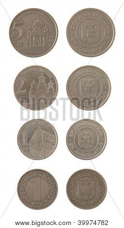 Old Yugoslav new dinar coins used from 1994 to 2002. Obverse and reverse isolated on white.