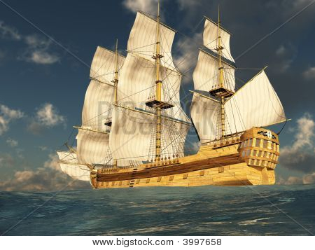 Tall Ship At Sea