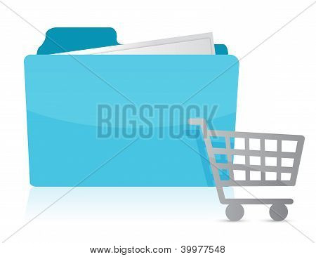 Folder With Shopping Cart Icon