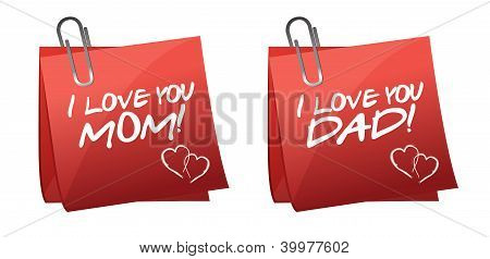 Father And Mother Day Greetings On A Paper Notes