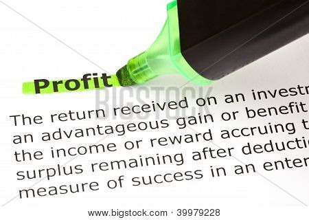Profit Highlighted In Green