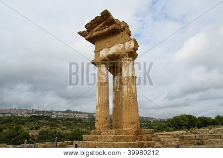 Ancient Greek Temple Of The Dioscuri (v-vi Century Bc), Valley Of The Temples, Agrigento, Sicily