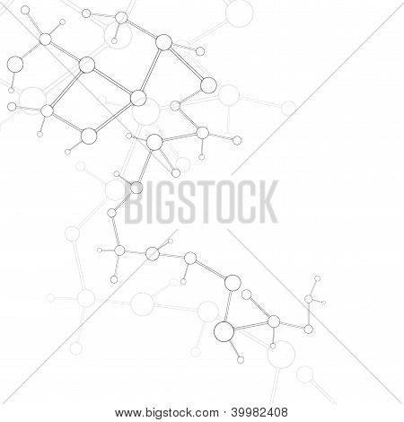 Abstract Molecule Silver White Background