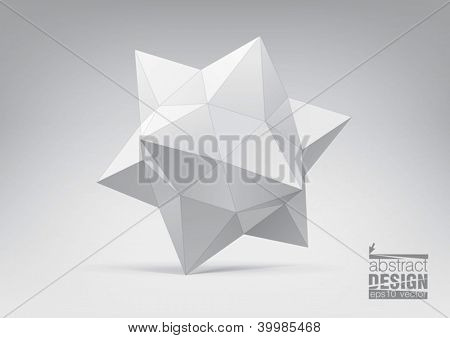 Polyhedron with triangular faces for graphic design. You can change colors