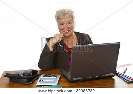 Female Senior With Laptop