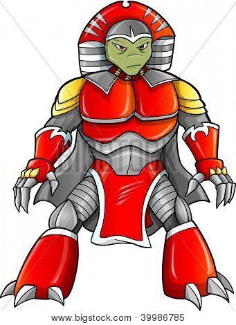Warrior Ninja Soldier Alien Reptile Cyborg Vector