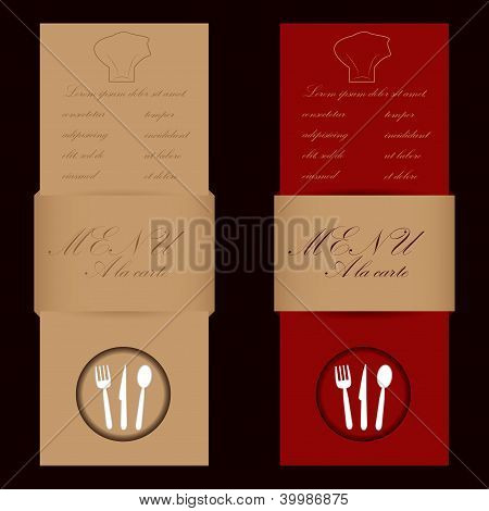 Red And Brown Menu Cards For Restaurant