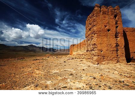 Moroccan Kasbah in Middle Atlas Mountains, Morocco, Africa
