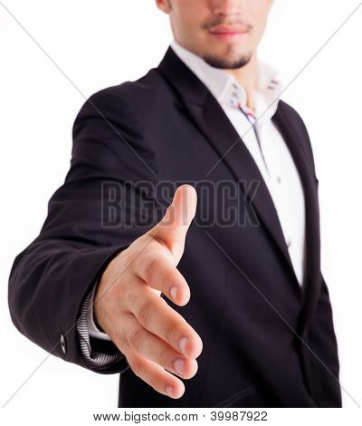 A business man with an open hand ready to seal a deal, isolated on white