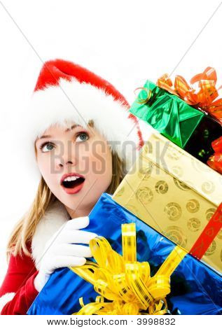 Surprised Girl With A Lot Of Christmas Presents