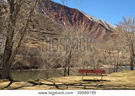 Bench along the Colorado River