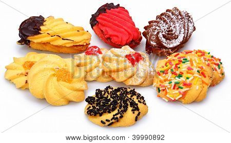 Pile of assorted Italian Biscottie Cookies Over White