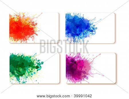 Collection of colorful abstract watercolor banners. Raster version of vector.