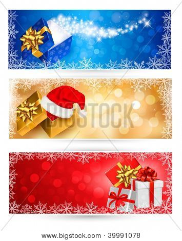 Three christmas banners with gift colorful boxes and snowflakes. Raster version of vector