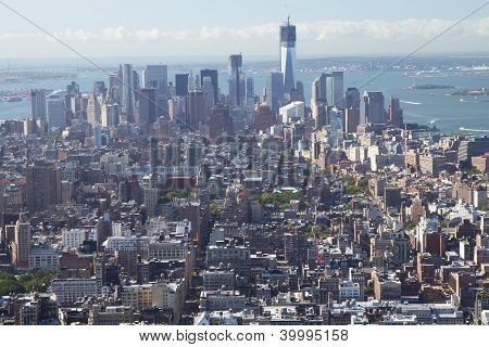 An Aerial View Of  Manhattan With The Freedom Tower.