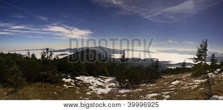 Nightscape With Stars, Mountains And Forests