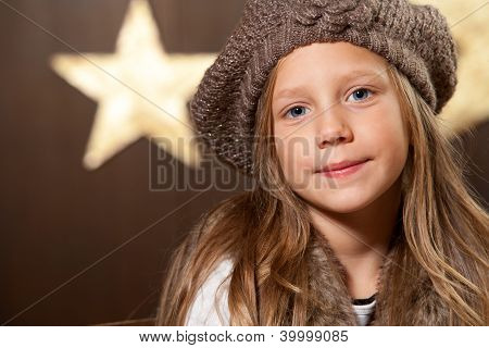 Portrait Of Cute Girl Wearing Slouchy Beanie.