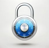 image of dial pad  - illustration of security concept with locked blue combination pad lock - JPG