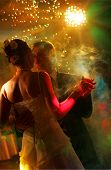 pic of wedding couple  - Newlywed couple dancing at their wedding reception - JPG