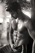 stock photo of shirtless  - Sexy sensual outdoor portrait of a very fit male model shirtless showing abs - JPG