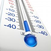 stock photo of freezing temperatures  - Cold thermometer - JPG