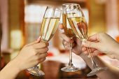 stock photo of congrats  - Corporate party sparkling champagne glasses - JPG