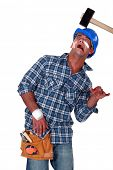 foto of prone  - Accident prone construction worker - JPG