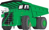 image of dumper  - A Giant Green Dumper Truck with man as scale - JPG