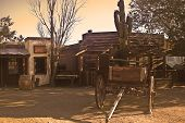 stock photo of wild west  - This is a view of Pioneer Town an old and abandoned western movie set in the Mojave desert of California - JPG