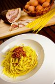 stock photo of guanciale  - Spaghetti alla carbonara - JPG