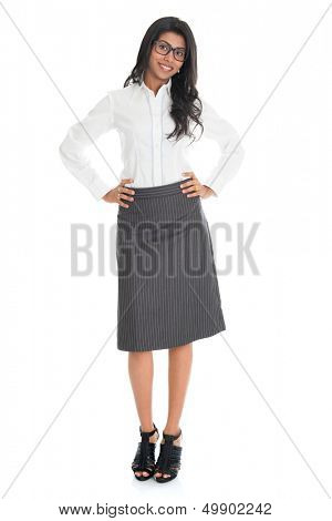 Full length portrait beautiful African American business woman smiling isolated over white background. Mixed race Asian Indian and African American model.