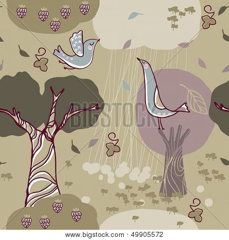 seamless forest pattern with birds