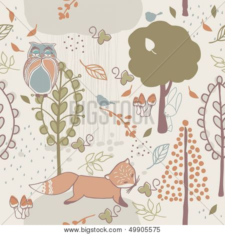autumn forest seamless pattern