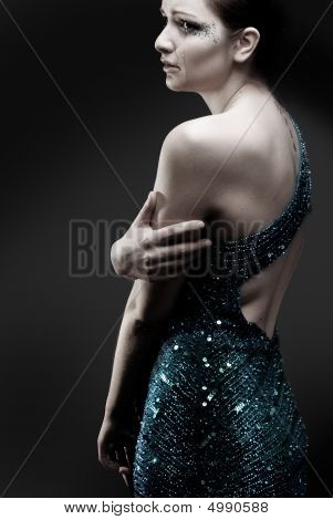 Crying Woman In Sparkly Dress