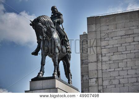 Equestrian statue in Prague, Czech republic