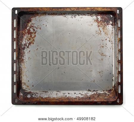 Old oven baking tray isolated on white