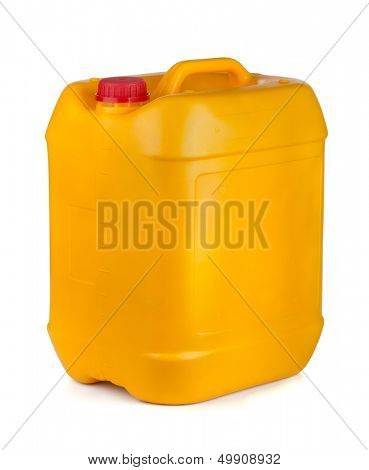 Yellow plastic container with lid and handle isolated on white