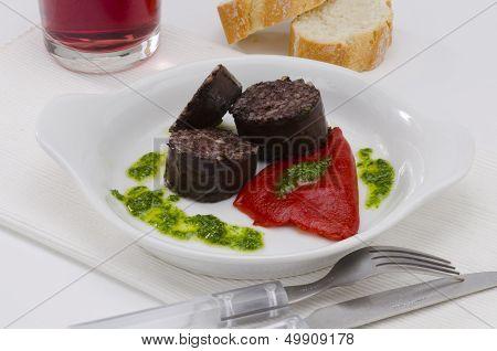 Spanish Cuisine. Morcilla De Burgos. Black Pudding.